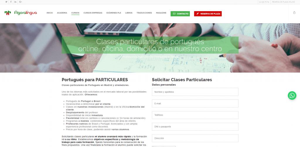 Diseño y posicionamiento web para academia de idiomas cursos
