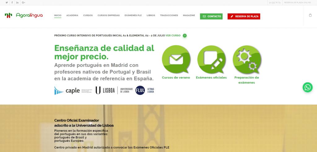 web para academia de idiomas ini