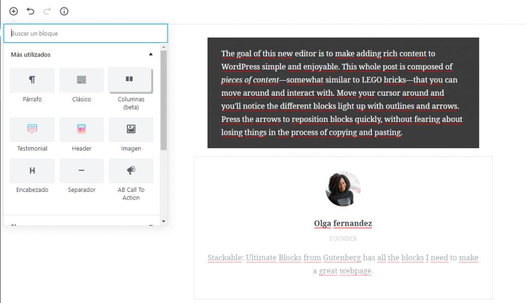 Gutenberg para WordPress bloques